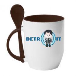 Кружка з керамічною ложкою Connor from the game Detroit: Become a Man