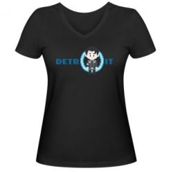 Жіноча футболка з V-подібним вирізом Connor from the game Detroit: Become a Man