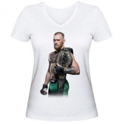 Женская футболка с V-образным вырезом Conor McGregor Belt - FatLine