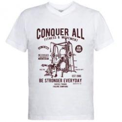 Чоловіча футболка з V-подібним вирізом Conquer All - FatLine