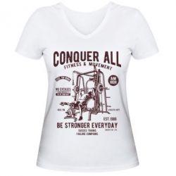 Жіноча футболка з V-подібним вирізом Conquer All - FatLine