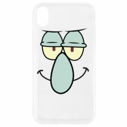 Чехол для iPhone XR Contented emoticon with a big nose