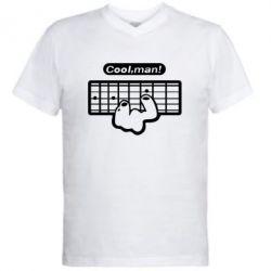 Мужская футболка  с V-образным вырезом Cool man? - FatLine