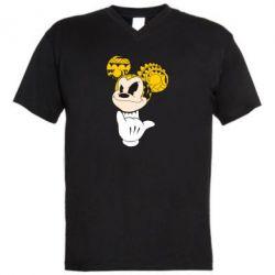 Мужская футболка  с V-образным вырезом Cool Mickey Mouse - FatLine