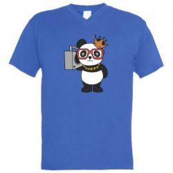 Чоловіча футболка з V-подібним вирізом Cool panda