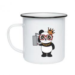 Кружка емальована Cool panda