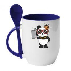 Кружка з керамічною ложкою Cool panda
