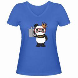Жіноча футболка з V-подібним вирізом Cool panda