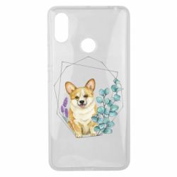 Чехол для Xiaomi Mi Max 3 Corgi and flowers