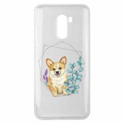 Чехол для Xiaomi Pocophone F1 Corgi and flowers