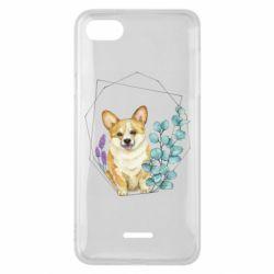 Чехол для Xiaomi Redmi 6A Corgi and flowers