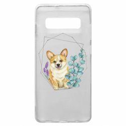 Чехол для Samsung S10+ Corgi and flowers