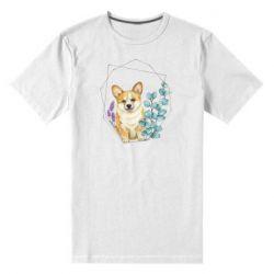 Мужская стрейчевая футболка Corgi and flowers