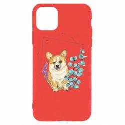 Чехол для iPhone 11 Pro Corgi and flowers