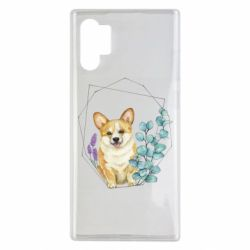Чехол для Samsung Note 10 Plus Corgi and flowers