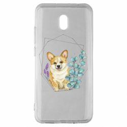 Чехол для Xiaomi Redmi 8A Corgi and flowers