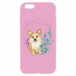 Чехол для iPhone 6 Plus/6S Plus Corgi and flowers