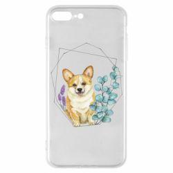 Чехол для iPhone 7 Plus Corgi and flowers