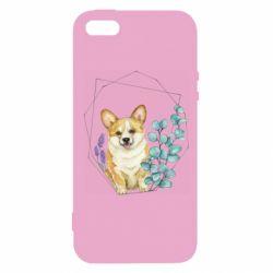 Чехол для iPhone5/5S/SE Corgi and flowers