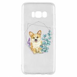 Чехол для Samsung S8 Corgi and flowers