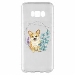 Чехол для Samsung S8+ Corgi and flowers