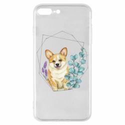 Чехол для iPhone 8 Plus Corgi and flowers