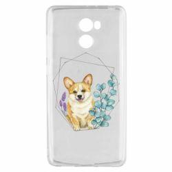 Чехол для Xiaomi Redmi 4 Corgi and flowers