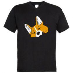 Чоловіча футболка з V-подібним вирізом Corgi is dozing