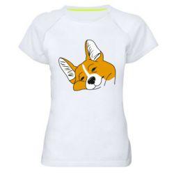 Жіноча спортивна футболка Corgi is dozing