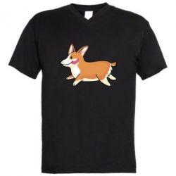 Мужская футболка  с V-образным вырезом Corgi