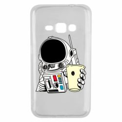 Чехол для Samsung J1 2016 Cosmonaut with a coffee