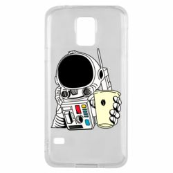 Чехол для Samsung S5 Cosmonaut with a coffee