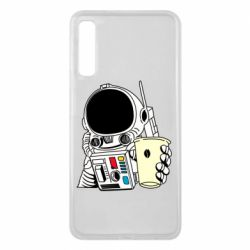 Чехол для Samsung A7 2018 Cosmonaut with a coffee