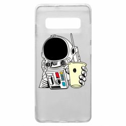 Чехол для Samsung S10+ Cosmonaut with a coffee