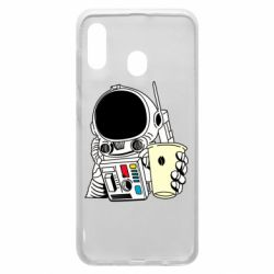 Чехол для Samsung A20 Cosmonaut with a coffee