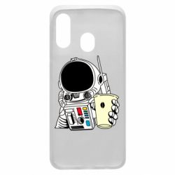 Чехол для Samsung A40 Cosmonaut with a coffee