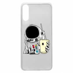 Чехол для Samsung A70 Cosmonaut with a coffee