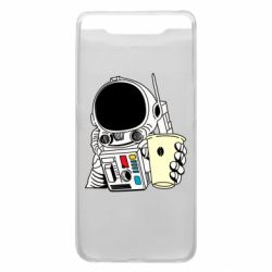Чехол для Samsung A80 Cosmonaut with a coffee