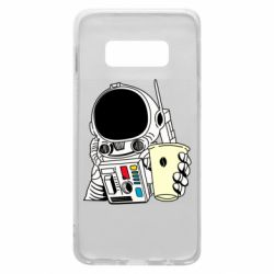 Чехол для Samsung S10e Cosmonaut with a coffee