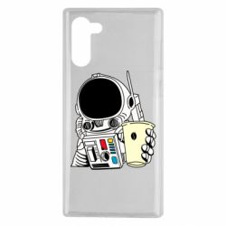 Чехол для Samsung Note 10 Cosmonaut with a coffee