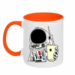 Кружка двухцветная 320ml Cosmonaut with a coffee