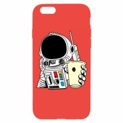 Чехол для iPhone 6/6S Cosmonaut with a coffee