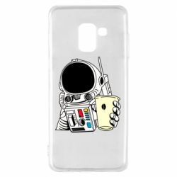 Чехол для Samsung A8 2018 Cosmonaut with a coffee