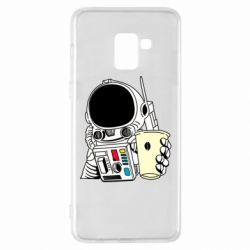 Чехол для Samsung A8+ 2018 Cosmonaut with a coffee