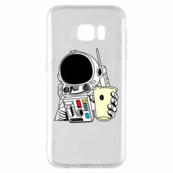 Чехол для Samsung S7 EDGE Cosmonaut with a coffee