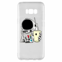 Чехол для Samsung S8+ Cosmonaut with a coffee