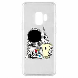 Чехол для Samsung S9 Cosmonaut with a coffee