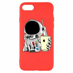 Чехол для iPhone 8 Cosmonaut with a coffee