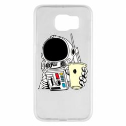Чехол для Samsung S6 Cosmonaut with a coffee