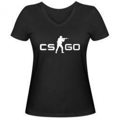 Женская футболка с V-образным вырезом Counter Strike GO - FatLine